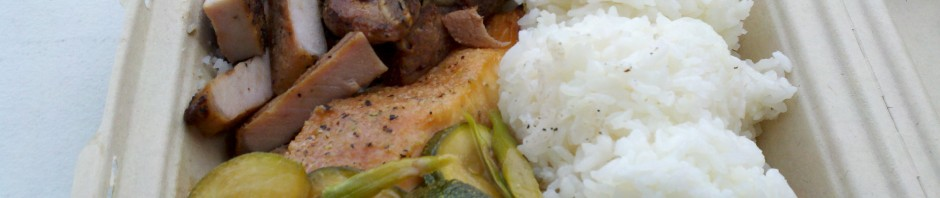 Salmon & Pork Chops from Ono To Go by @harrycovair